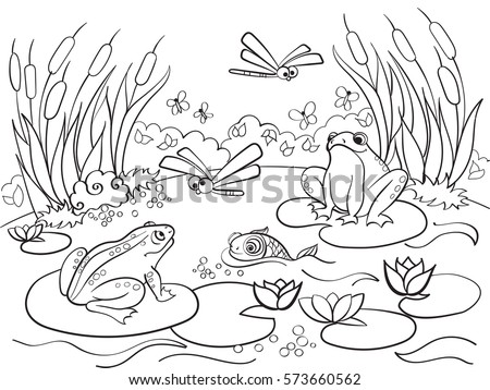 Wetland Landscape With Animals Coloring Book For Adults Vector Illustration Anti Stress Adult