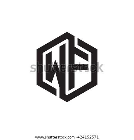 Wf Initial Letters Looping Linked Hexagon Monogram Logo