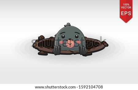 whack a mole hamster inside a hole vector illustration cute hands game arcade hammer Stockfoto ©