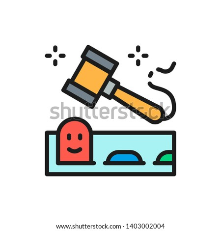Whack mole game with hammer flat color line icon. Stockfoto ©