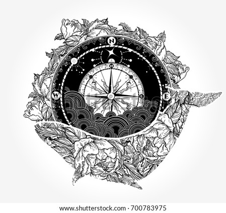 Whale and compass tattoo and t-shirt design. Antique compass and floral whale tattoo art. Mystical symbol of adventure, dreams. Compass and Whale. Travel, adventure, outdoors symbol whale
