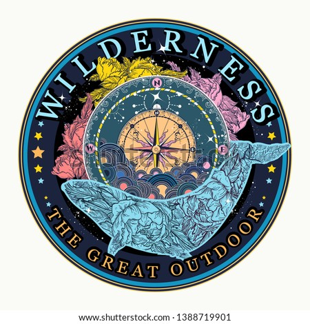 Whale and compass. Wilderness, the great outdoors slogan. Symbol of tourism and travel #1388719901