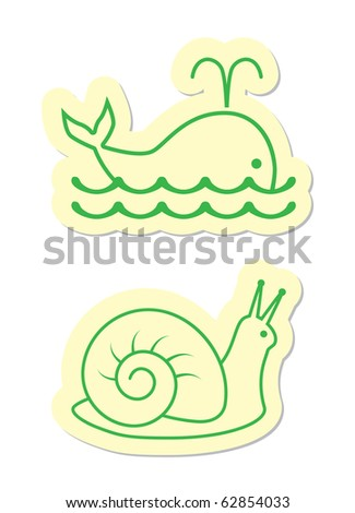 whale and snail icons