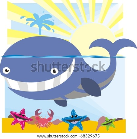 Whale cartoon - Ocean wildlife colorful vector illustration