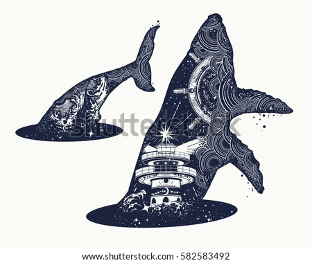 whale double exposure surreal