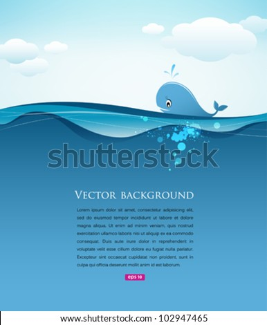whale in blue sea background