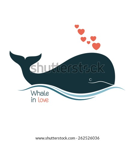 whale in love with hearts
