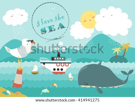 whale steamship and seagull in