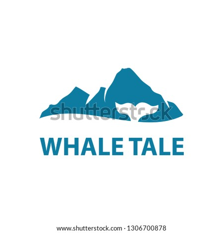 Stock Photo whale tale with blue mountain in behind, logo template