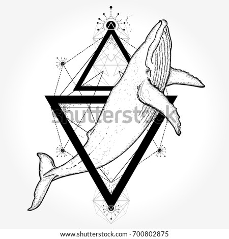 whale tattoo and t shirt design