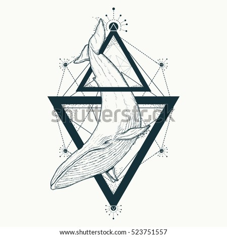 Whale tattoo geometric style. Mystical symbol of adventure, dreams