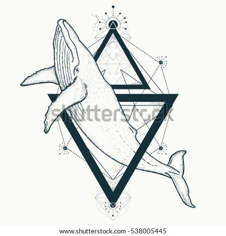 whale tattoo geometric style