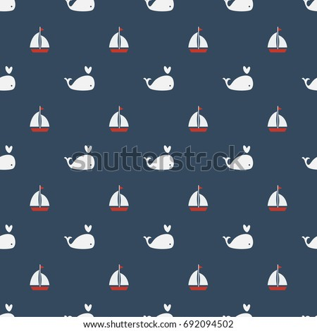 Whales Seamless pattern on blue background vector illustration with Sailing boat.