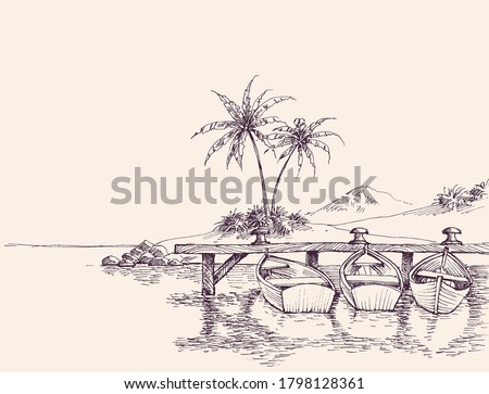 Wharf drawing, empty boats and palm trees on sandy beach Stockfoto ©