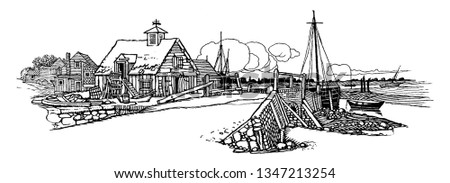 Wharf is a structure on the shore of a harbor or on the bank of a river or canal where ships may dock to load and unload cargo or passengers, vintage line drawing or engraving illustration.