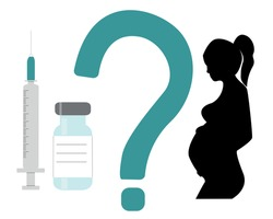 What a pregnant woman should know before vaccination banner.Vector illustration with vaccine, syringe, question mark and female pregnant silhouette isolated on white background.