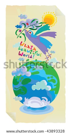 what a world with olive branch bird and globe