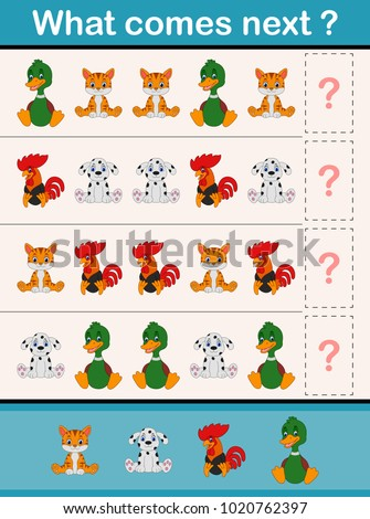 What comes next educational activity game for preschool children with animals