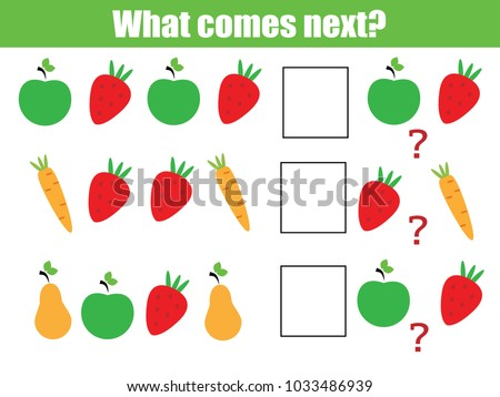 What comes next educational children game. Kids activity sheet, training logic, continue the row task with fruits and vegetables