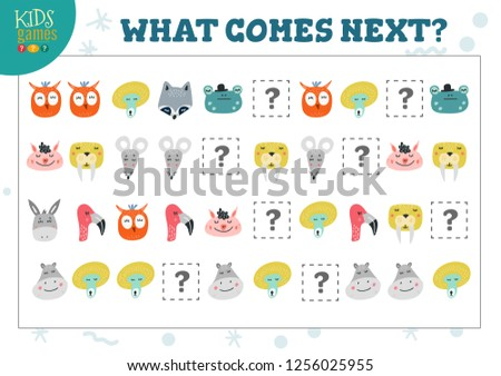 What comes next kids educational activity vector illustration. Learning game, activity worksheet with cute little animals