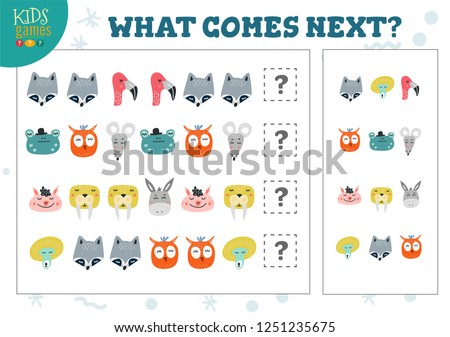 What comes next kids educational game vector illustration. Activity for logic development with raccoon, flamingo, owl