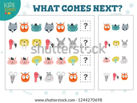 What comes next kids educational game vector illustration. Activity for logic development with frog, walrus, donkey