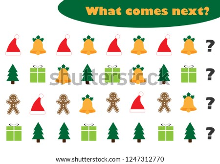 What comes next with christmas pictures for children, xmas fun education game for kids, preschool worksheet activity, task for the development of logical thinking, vector illustration