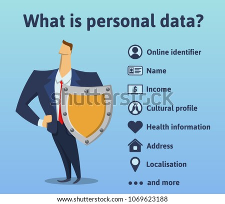 What is personal data. What information is under the protection of the rules of the GDPR. General Data Protection Regulation. The man with the shield. Vector infographics illustration. 商業照片 ©