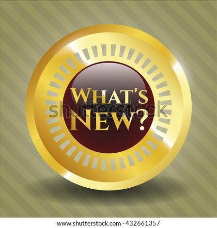 What's New? golden badge or emblem