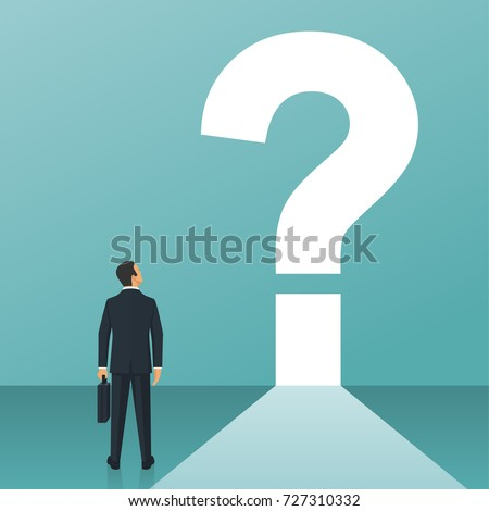 What's next concept. Big question mark on a way. Businessman in suit with briefcase faces an unknown open. Vector illustration flat design. Isolated on white background.