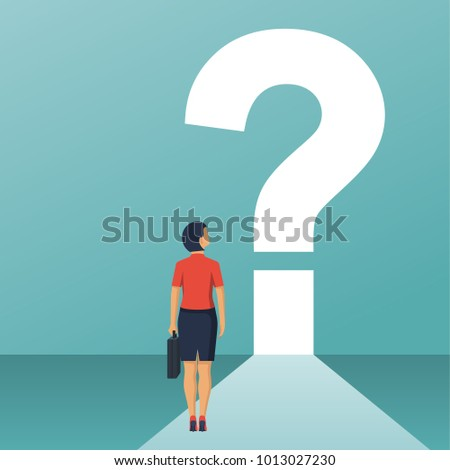 What's next concept. Big question mark on a way. Businesswoman in suit with briefcase faces an unknown open. Vector illustration flat design. Isolated on white background.