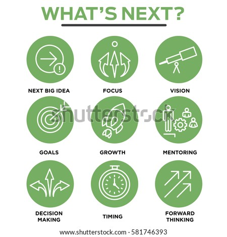What's Next Icon Set with Big Idea, Mentoring, Decision Making, and Forward Thinking etc Icons