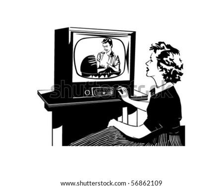 What's On TV - Retro Clip Art - stock vector