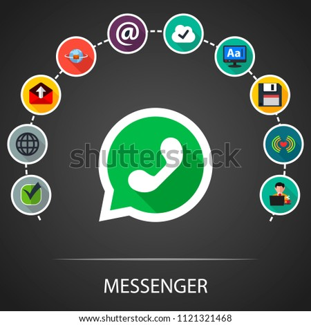 Whats app flat icons concept. Vector illustration. Element template for design.