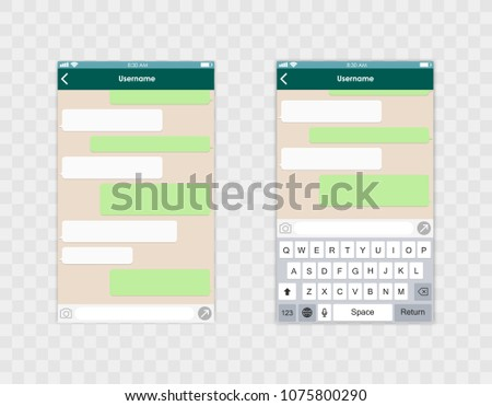Whats app template whith mobile keyboard. Social network concept. Vector illustration Message