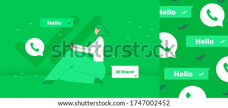 Whatsapp girl sitting and chat via messenger in green colors.  Speech bubbles and delivery and female holding phone. Pattern about social media with hello or hi. Isolated vector