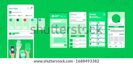 Whatsapp screen UI post delivery chat frame with stories vector mobile app mock up. Social network on mobile phone profile, dashbord,  feedback, news, history, friends, notifications, check mark.