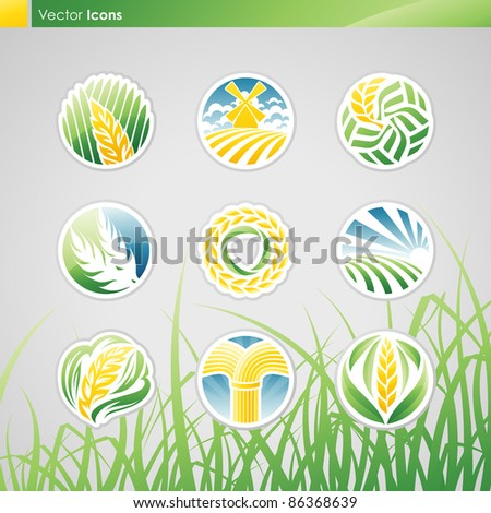 wheat and rye icon set