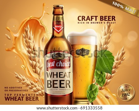 wheat beer ads  beer bottle and