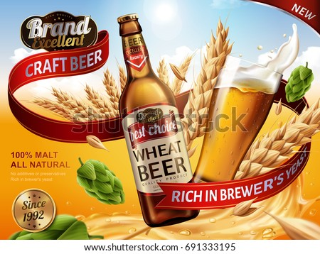 Wheat beer ads, bottle and glass with splashing beer and ingredients in the air, 3d illustration