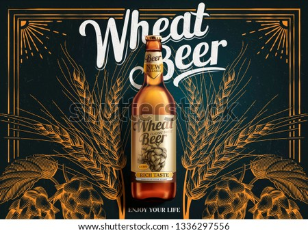 Wheat beer ads laying on blackboard background with engraved hops, 3d illustration