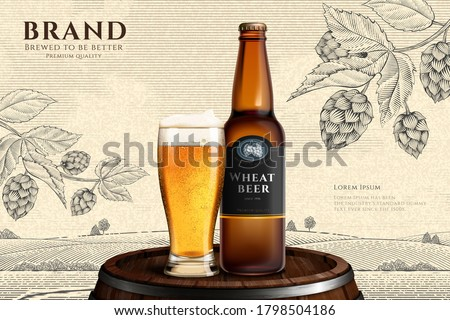 Wheat beer bottle and glass on wooden barrel in 3d illustration over engraved countryside background