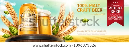 Wheat beer with natural ingredients on oak barrel in 3d illustration, wheat field background