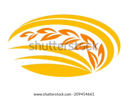 Wheat cereal symbol with yellow and orange ears suitable for food logo agriculture and harvest design