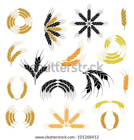 wheat ear icon and wreath set