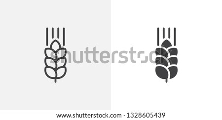 Wheat ear icon. line and glyph version, outline and filled vector sign. Cereals grain linear and full pictogram. Agriculture symbol, logo illustration. Different style icons set