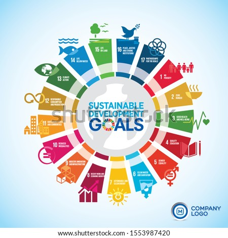 Wheel diagram of Sustainable Development global Goals for your business presentation use. Graphics resource.