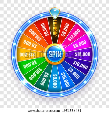 Wheel fortune isolated. Spinning fortune wheel, lucky roulette. Casino neon colorful. Vector illustration ストックフォト ©