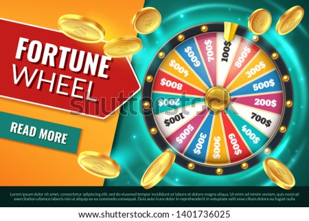 Wheel fortune. Lucky jackpot winner text banner, casino prize spinning roulette. Game win chance circle gambling lottery vector background