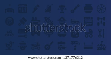wheel icon set. 32 filled wheel icons. on blue background style Collection Of - Garage, Flipdrive, Tandem, Seagull, Settings, Pistons, Configuration, Sailor, Wrench, Paint, Games